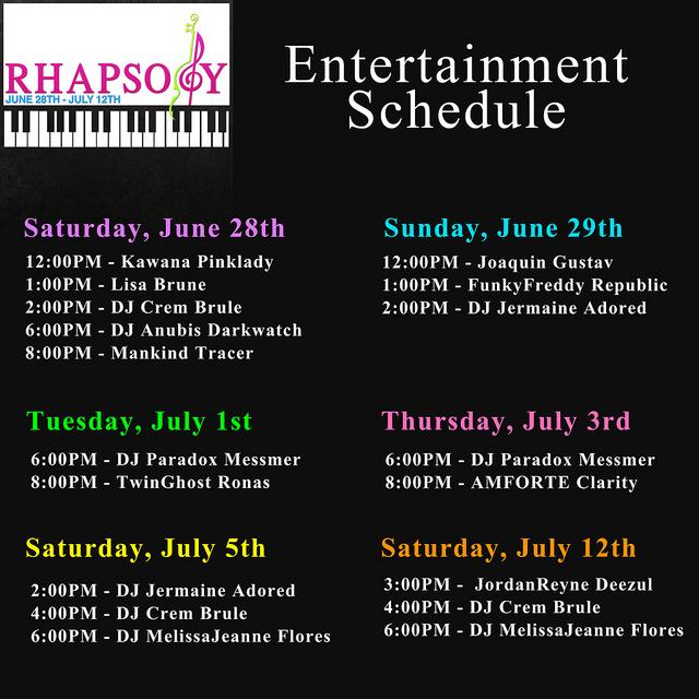 Rhapsody schedule